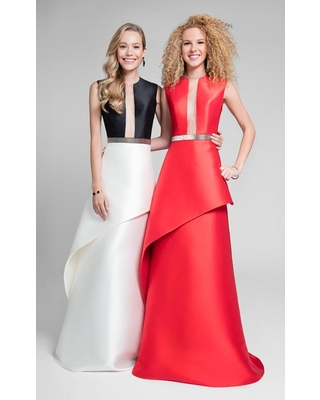 Terani Couture - Chic Illusion Neck Layered A-line Gown 1711P2357