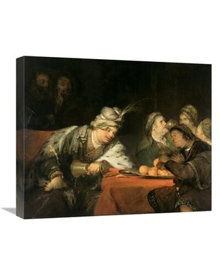 """'The Banquet of Ahasuerus' Oil Painting Print on Canvas East Urban Home Size: 18"""" H x 22"""" W x 1.5"""" D"""
