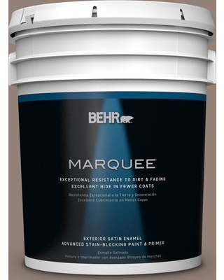 BEHR MARQUEE 5 gal. #BNC-22 Chocolate Chiffon Satin Enamel Exterior Paint and Primer in One