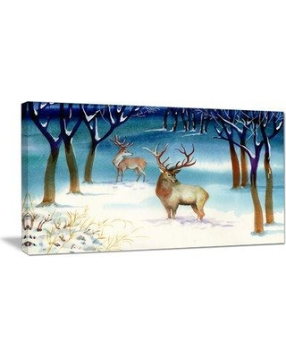 """East Urban Home 'Amazing Winter Forest with Deer' Graphic Art ERNH7022 Size: 16"""" H x 32"""" W x 1"""" D Format: Wrapped Canvas"""