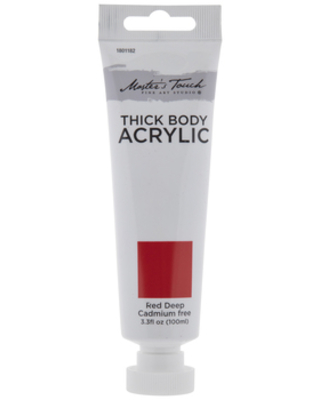 Red Deep Cadmium Free Master's Touch Thick Body Acrylic Paint - 3.3 Ounce