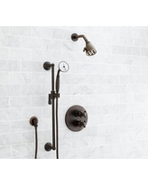 Warby Thermostatic Cross-Handle Hand-Held Shower Faucet Set, Antique Bronze Finish