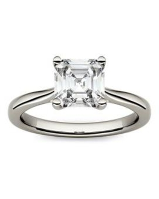 Charles & Colvard White 1.3 ct. t.w. Lab Created Moissanite Asscher Solitaire Ring in 14K White Gold