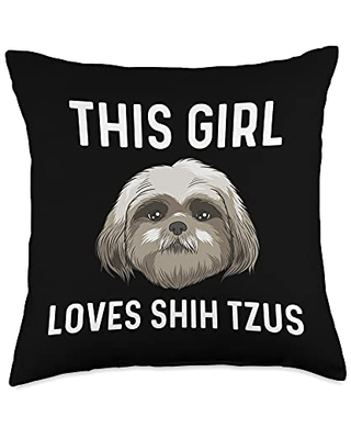 Best Pup Breed & Little Lion Fur Floppy Presents Funny Shih Tzu Gift For Girls Kid Pet Dog Puppy Owner Animal Throw Pillow, 18x18, Multicolor