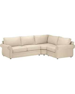 Pearce Roll Arm Upholstered Left Arm 3-Piece Wedge Sectional, Down Blend Wrapped Cushions, Performance Everydayvelvet(TM) Buckwheat