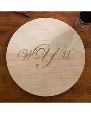 Personalized Maple Lazy Susan Serving Tray - Raised Monogram