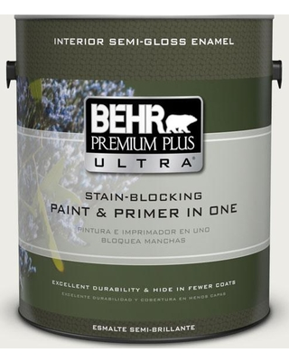 BEHR Premium Plus Ultra 1 gal. #bwc-20 Melting Icicles Semi-Gloss Enamel Interior Paint and Primer in One