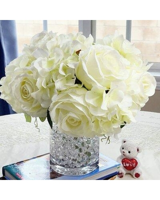 House of Hampton Mixed Artificial Hydrangeas and Roses Floral Arrangements in Vase W001463330 Flower Color: Cream