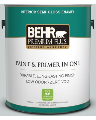 BEHR Premium Plus 1 gal. #720E-2 Light French Gray Semi-Gloss Enamel Low Odor Interior Paint and Primer in One, Grays