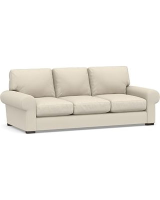 """Turner Roll Arm Upholstered Sleeper Sofa 3-Seater 90"""" with Robin Mattress, Polyester Wrapped Cushions, Performance Brushed Basketweave Ivory"""