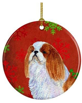 Shop Deals For The Holiday Aisle English Toy Spaniel Snowflakes Holiday Christmas Ceramic Hanging Figurine Ornament Ceramic Porcelain In Red Brown Green Wayfair