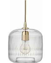 """Contour 7 1/2"""" Wide Clear Glass with Brass Mini Pendant"""