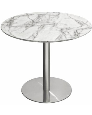 """""""Stella 36"""" Round Dining Table w/ Faux Marble Top and Brushed Silver Metal Base - Diamond Sofa STELLADTMASL"""""""