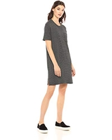 Amazon Brand - Daily Ritual Women's Relaxed Fit Supersoft Terry Short-Sleeve T-Shirt Dress, Black-White Stripe, Small