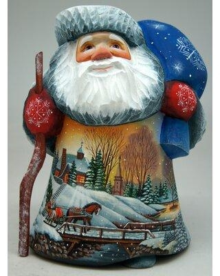 Deals For The Holiday Aisle Santa Figurine Lighted House Sleigh Ride Signature Masterpiece Woodcarving Wood In Blue Size 8 H X 6 W X 5 D Wayfair