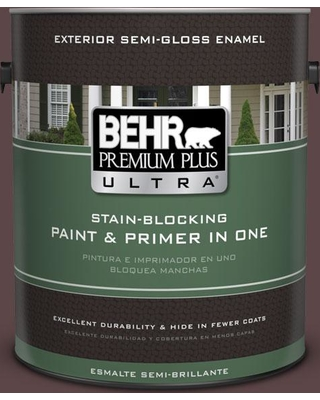 BEHR Premium Plus Ultra 1 gal. #bnc-31 Mahogany Spice Semi-Gloss Enamel Exterior Paint and Primer in One
