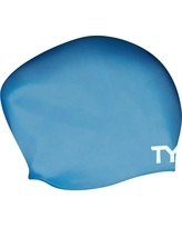 TYR Long Hair Swim Cap, Blue