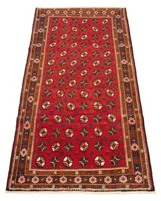 """One-of-a-Kind Mille Hand-Knotted 1980s Bokhara Dark Red 4'4"""" x 9' Runner Wool Area Rug World Menagerie"""