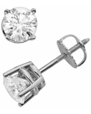 18k White Gold 1 1/2-ct. T.W. Round-Cut Colorless Diamond Solitaire Earrings, Women's