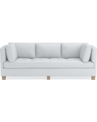 "Wilshire 96"" Sofa, Down Cushion, Brushed Canvas, White, Natural Leg"