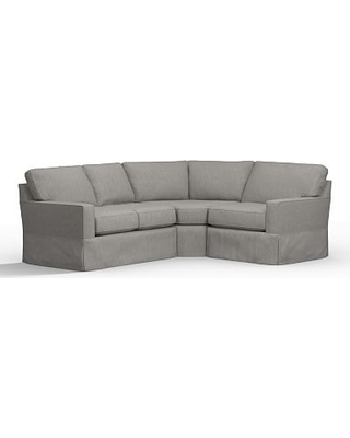 Buchanan Square Arm Slipcovered Left Arm 3-Piece Wedge Sectional, Polyester Wrapped Cushions, Sunbrella(R) Performance Sahara Weave Charcoal