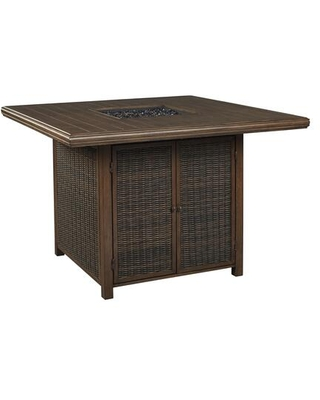 BM209269 Square Aluminum Bar Table with Fire Pit and Resin Wicker Side Panels