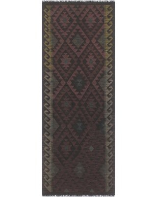 """One-of-a-Kind Ceporah Hand-Knotted 1990s 2'8"""" x 8'2"""" Runner Wool Area Rug in Brown/Black"""