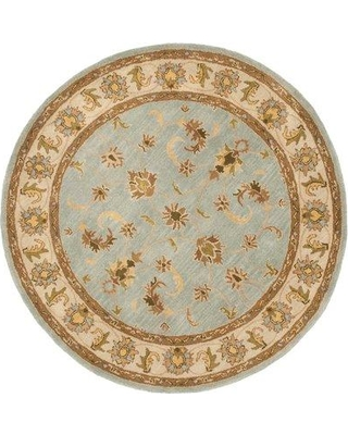 Charlton Home® Cranmore Oriental Handmade Tufted Wool Light Blue/Beige Area Rug Rug Size: Round 6'