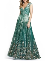 Mac Duggal Embellished A-Line Gown, Size 0 in Sage at Nordstrom