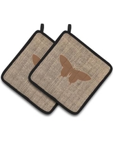 East Urban Home Butterfly Quilted Black Trim Potholder EAAS4464 Color: Brown