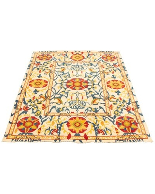 """One-of-a-Kind Tice Hand-Knotted 2010s Ushak Ivory 6'1"""" x 8'11"""" Wool Area Rug"""