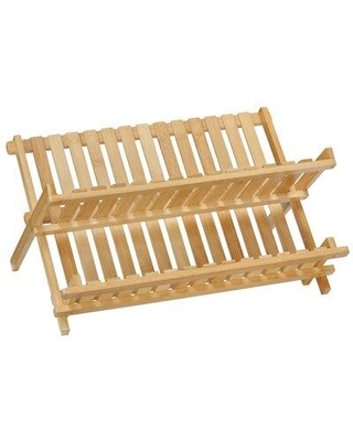 Cortesi Home Rella Natural Bamboo Folding 2 Tier Dish Rack CH-AX900319