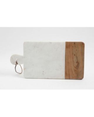 Laurie Gates White Marble & Wood Serving Board