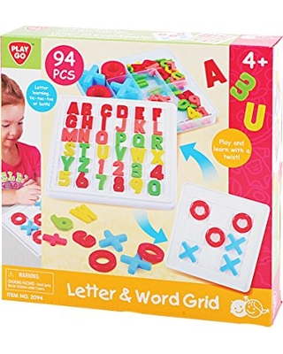 PlayGo Educational Preschool Alphabet Letter & Word Grid Learning Toy (94Piece) for Toddlers Increases Memory Gift for Girls & Boys