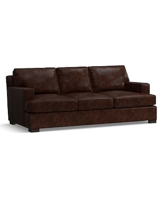 """Townsend Square Arm Leather Sofa 84"""", Polyester Wrapped Cushions, Leather Legacy Tobacco"""