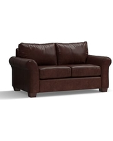 """PB Comfort Roll Arm Leather Loveseat 68"""", Polyester Wrapped Cushions, Leather Statesville Espresso"""