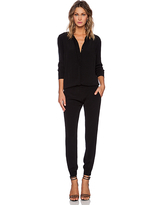 MONROW Crepe Long Sleeve Jumpsuit in Black. - size XS (also in M, S)