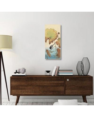 """East Urban Home 'Wagtail and Lotus ca. 1915' Graphic Art Print on Wrapped Canvas ERNI8697 Size: 36"""" H x 16.2"""" W x 1.5"""" D"""