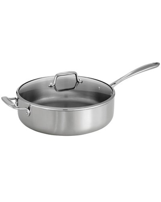 Tri-Ply Clad 6 Qt Covered Stainless Steel Deep Sauté Pan
