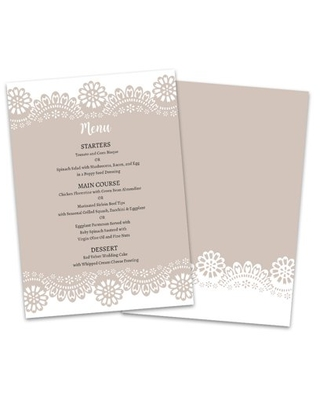 Personalized Burlap and Lace Wedding Menu Card