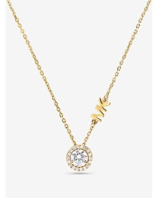 Michael Kors Precious Metal-Plated Sterling Silver Pavé Halo Necklace Gold One Size