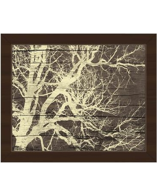 """Click Wall Art 'Tree Silhouette on Wood' Framed Graphic Art GRU0000174FRM Size: 13.5"""" H x 16.5"""" W Format: Espresso Framed"""