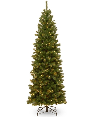 National Tree Company 7 ft. North Valley Spruce Pencil Slim Artificial Christmas Tree with Clear Lights
