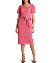 Tahari Short Sleeve Tie Waist Lace Dress, Size 6 in Neon Coral at Nordstrom