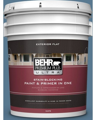 BEHR Premium Plus Ultra 5 gal. #PPU14-03 Cayman Bay Flat Exterior Paint and Primer in One