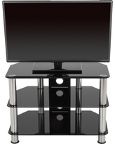 TV Stand with Cable Management - 42 - Silver & Black - Avf