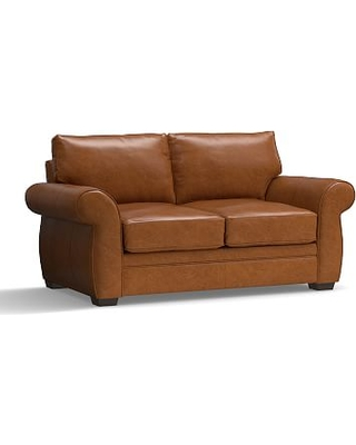 """Pearce Leather Loveseat 73"""", Down Blend Wrapped Cushions, Leather Vintage Caramel"""