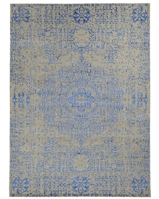 """Hand Knotted Grey Hand-Loomed with Wool & Silk Oriental Rug (8'10"""" x 11'10"""") - 8'10"""" x 11'10"""""""