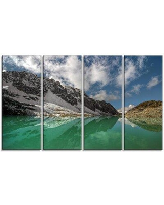 Design Art 'Clear Mountain Lake Under Bright Sky' 4 Piece Photographic Print on Wrapped Canvas Set PT14494-271