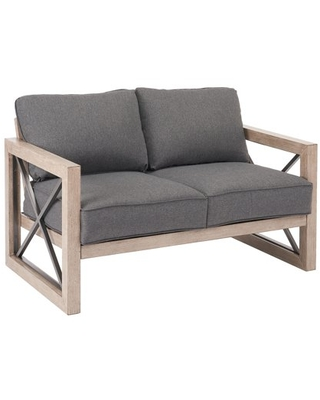 Better Homes & Gardens Remsen 2-Piece Patio Loveseat Set with Gray Cushions and Coffee Table